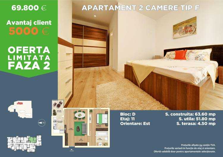 Apartament 2 camere Tip F